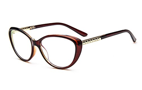 D.King Women Fashion Cat Eyeglasses Frames Clear Lens 56mm Tea (Spectacle Frame compare prices)