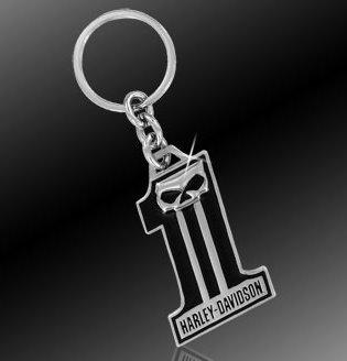 Harley Davidson Car Truck SUV Key Chain Metal - #1 Skull w/ Script