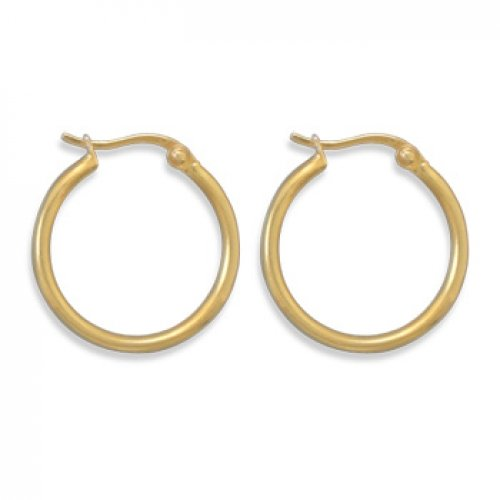MMA Silver - 14 Karat Gold Plated 1.5mm x 20mm Hoops