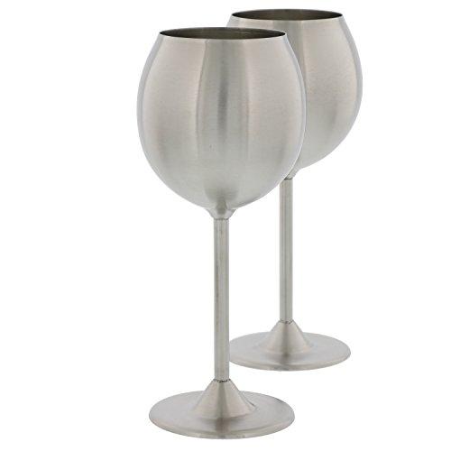 deco premium stainless steel wine glass 2 glasses set barware drink cup bar home ebay. Black Bedroom Furniture Sets. Home Design Ideas