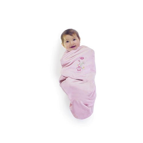 FAO Schwarz Posy Deluxe Embroidered Swadle Wrap - Pink - 1
