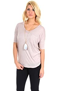 Love Tree Pocketed V-Neck Tee in Tan
