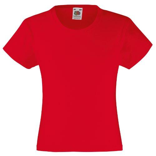 Fruit Of The Loom - Maglietta 100% Cotone - Bambina (5-6 anni) (Rosso)