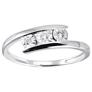So Chic Jewels - Ladies 9k White Gold 0.06 ct Diamond Trilogy Wedding Band Ring