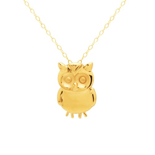 Duragold 14k Yellow Gold Small Owl Pendant Necklace, 18