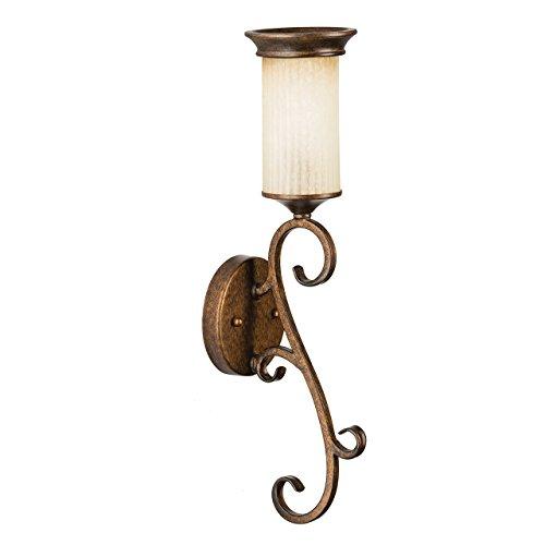 Applique style rustique antique, vintage, armature en métal coloré en bronze, plafonnier en verre 1 ampoule E14 1x60W 230V