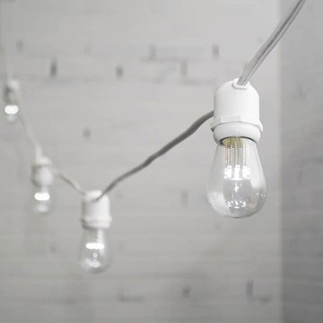 Commercial Led Edison String Lights, 48 Foot White Wire, S14 Bulb, Cool White