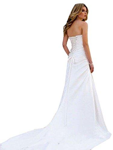 c4a59be86d TSRJ Women s Waist Empire Satin Beading Applique Draped Beach Wedding Dress  White US12