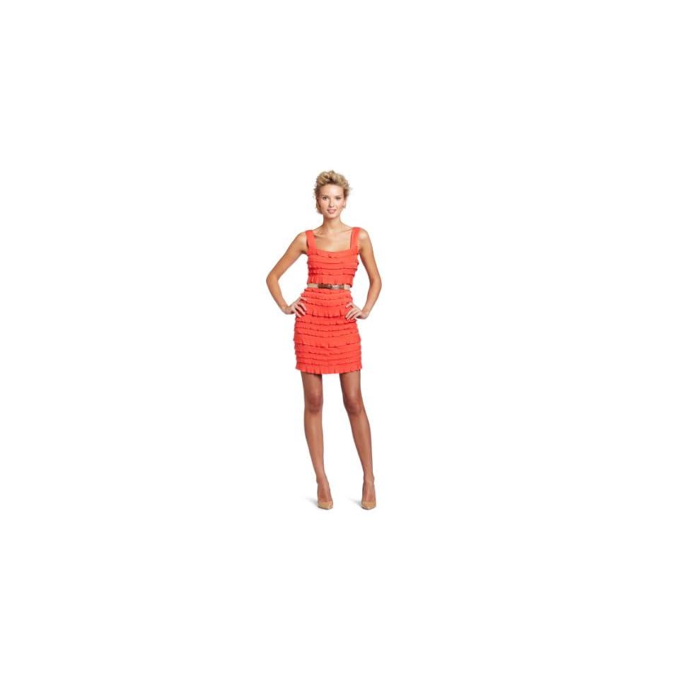 Ali Ro Womens Sleeveless Ruffled Knit Dress
