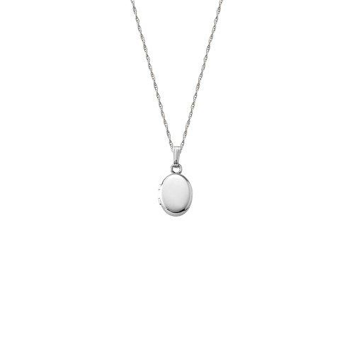 14k White Gold Children's Oval Locket Necklace, 13