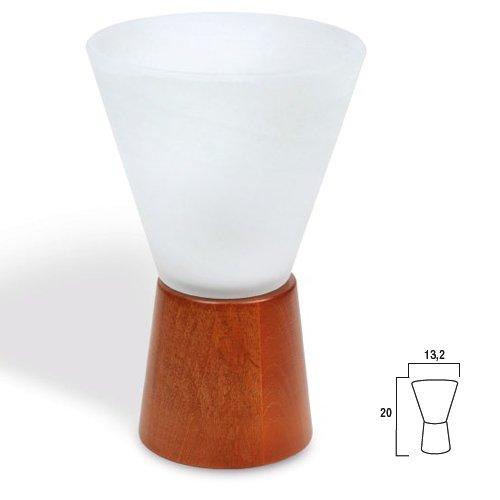 Lampada Abajour Lume Modello Cono Attacco E14 Base In Legno