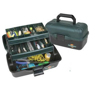 Flambeau Tackle 2 Tray Tackle Box (Black/Green, 13.5x8.5x7.5-Inch)