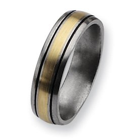 Titanium 14k Gold Inlay 6mm and Antiqued Band TB108-18