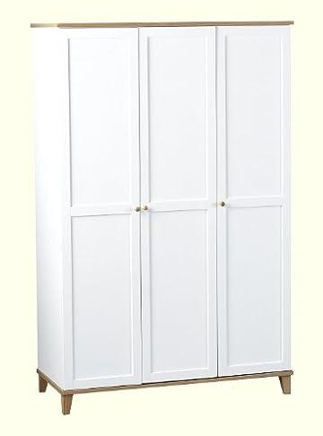 Arcadia-Armadio a 3 ante, colore: bianco, impiallacciato di frassino