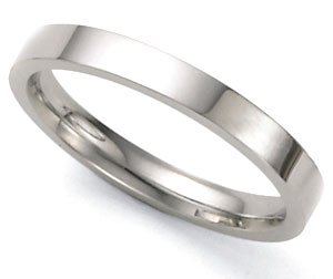 High-Polished Flat Wedding Band in 14k White Gold (3mm)