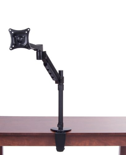 Displays2Go Monitor Or Tv Arm, Desk Or Table Mount, Holds One Display From 12 To 14 Inches, Black Steel (Tmtflex2Bk)