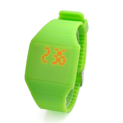 Jovivi Ultra-Thin Unisex Boy And Girl Touch Screen Led Digital Silicone Sport Wrist Watch - Green