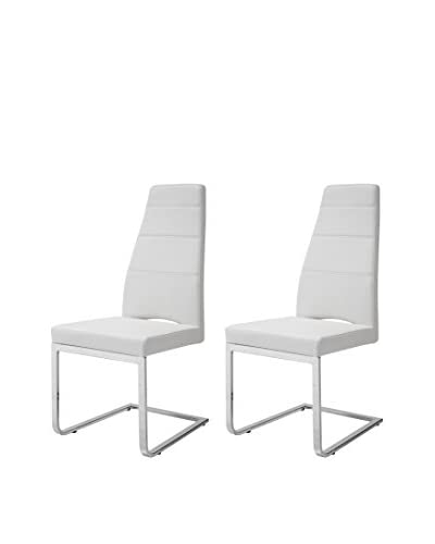 Whiteline Ville Set of 2 Dining Chairs, White