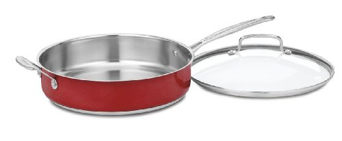 Cuisinart CS33-30HMR Chef's Classic Stainless 5-Quart Saute Pan with Helper Handle and Cover, Metallic Red
