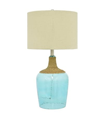 Three Hands Glass 1-Light Table Lamp, Aqua As You See