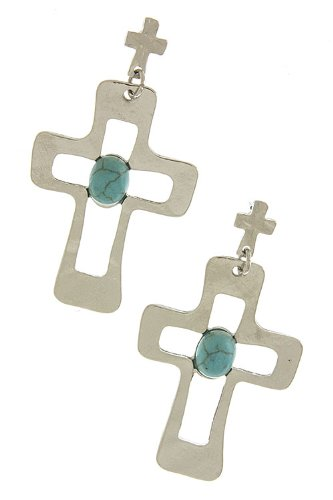 Trendy Fashion Jewelry Stone Accent Cross Cut Earrings By Fashion Destination | (Silver) front-152386
