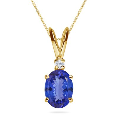 0.02 Cts Diamond & 0.45 Cts of 6x4 mm AA Oval Tanzanite Pendant in 18K Yellow Gold