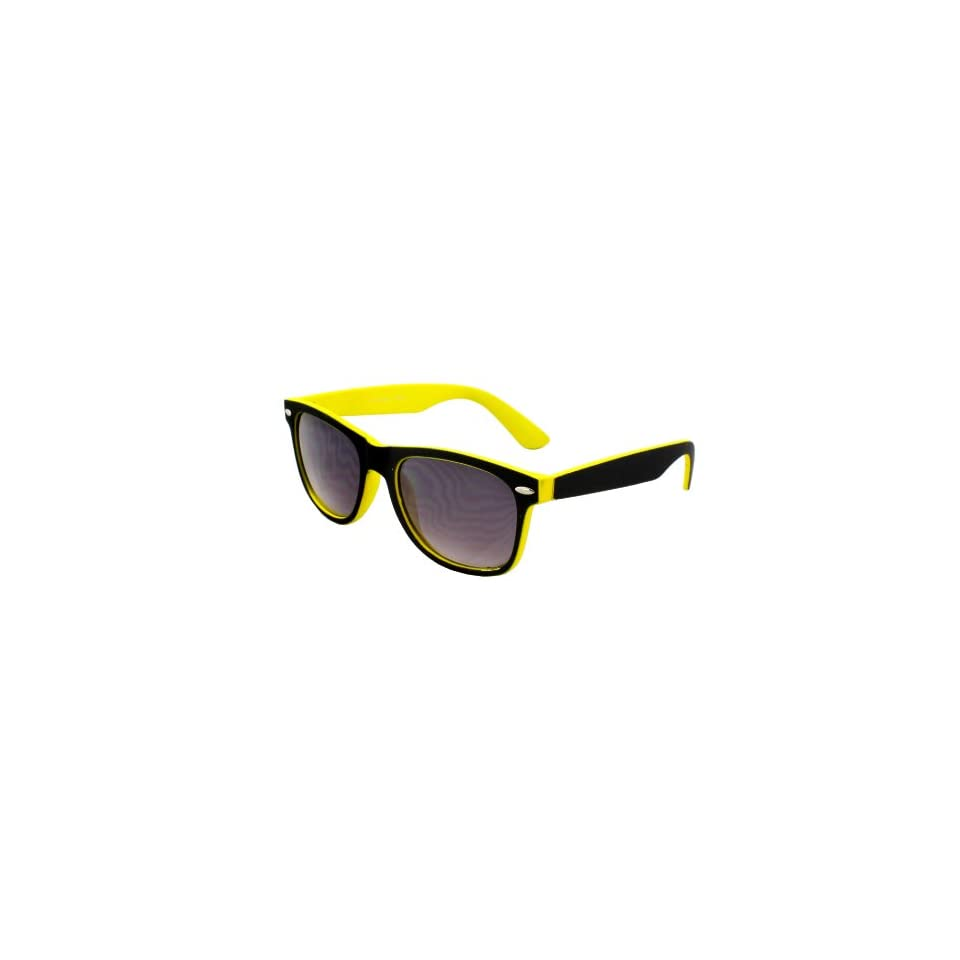 Epic Dynamic EP 351BKYLPB Wayfarer Fashion Sunglasses Rubber Coating Black with Yellow Frame Purple Black Lenses for Women and Men