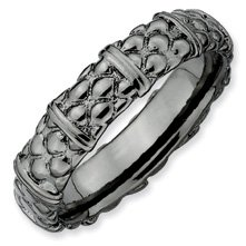 Mesmerizing Silver Stackable Black Ring. Sizes 5-10 Available