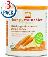 Happy Baby Happy Munchies Baked Organic Cheese and Grain Snack Cheddar Cheese with Carrot -- 1.63 oz Each / Pack of 3