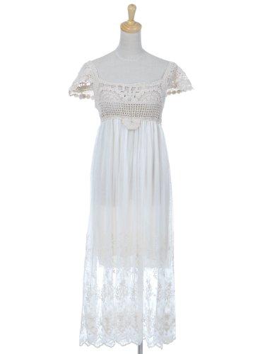 Anna-Kaci S/M Fit White Tan Beige Short Sleeve Organic Floral Bridal Maxi Dress