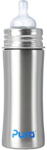 Pura Kiki Stainless Infant Bottle Stainless Steel with Natural Vent Nipple, 11 Ounce, Natural, 3 Months+