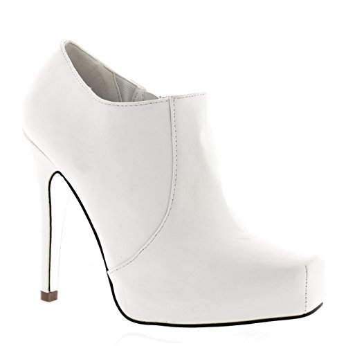 Womens Ankle Evening Stiletto Heels Platforms Formal Heeled Ankle Boots - White - US8/EU39 - KL0003A