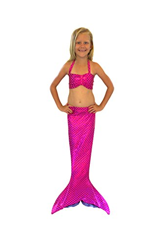 Handmade Mermaid Swimsuit Tail & Top for Swimming (Pink Mermaid Scales with matching top, Girls 4-6)