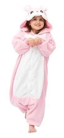 Kids Onesie - Genuine Animal Kigurumi For Children - Boys & Girls - Great All In One Fancy Dress Childs Halloween Costume - Cat - Chicken - Cow - Dalmation - Dinosaur - Giraffe - Seal - Skeleton - Tiger - Turtle (Pink Rabbit)