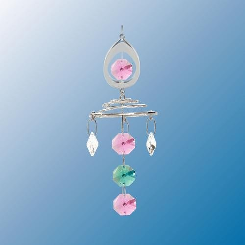 Almond With Topper Chrystal Chain ... Hanging Sun Catcher or Ornament..... With Ass'ted Color Swarovski Austrian Crystals