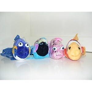 Webkinz Set of Four: Clown Fish, Polka Back Fish, Pink Glitter Fish, Purple Goldfish