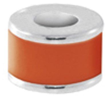 Avedon Kids Polished Sterling Silver Orange Enamel Confetti Slide Charm