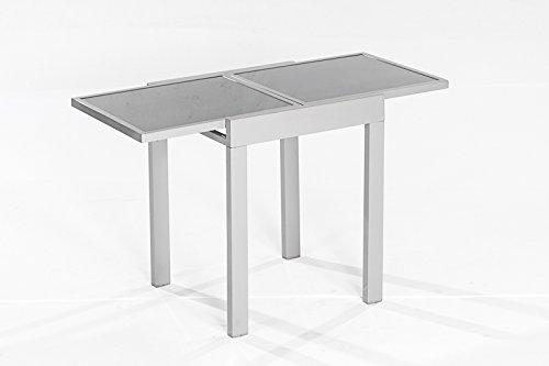 Balkontisch AMALFI aus Aluminium und Glas 65x65cm, ausziehbar auf 65x130cm günstig bestellen