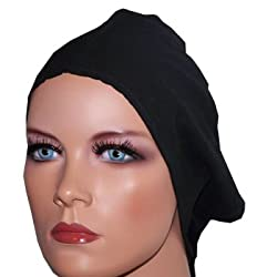 Apparelsonline Black Hijab Cap Under scarf Soft crepe Hair loss Chemo High quality
