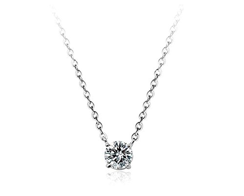 Aaa Cubic Zirconia Crystal Ornate Round 6Mmx6Mm Zirconia Solitaire Pendant Necklace Fashion Jewelry For Women (Platinum Plated)