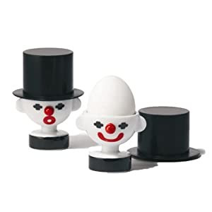 Po Selected Clown Egg Cups with Silicone Holders, Porcelain Silicone Black, Set of 2, 7 x 7 x 9.4 cm, White/ Red