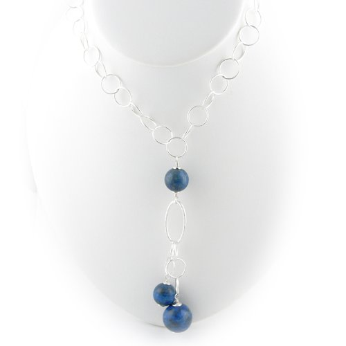 Sterling Silver Blue Lapis Large Link Chain Y Necklace