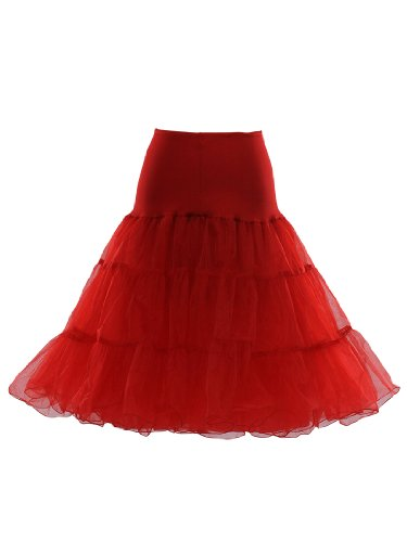 Artwedding 50's Bridal Party Dress Vintage Petticoat, Red
