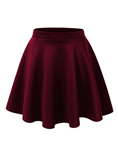 Women's Basic Solid Swing Mini Skater Skirt