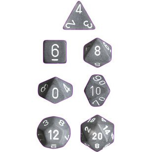 Polyhedral 7-Die Frosted Chessex Dice Set - Smoke with White Numbers