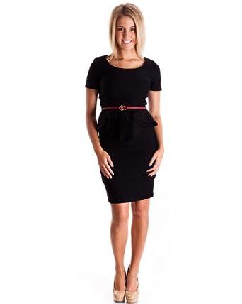 Ladies Black Peplum Flap Waist Pencil Skirt Suit Dress with Belt