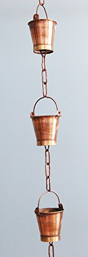 U-nitt 8-1/2 feet Pure Copper Rain Chain: bucket cup 8.5 ft length #8146 (Rain Chains For Gutters compare prices)