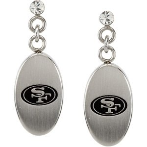 Womens Stainless Steel San Francisco 49ers NFL Football Team Logo Dangle Earrings and Dangle Link Bracelet 8 Inches