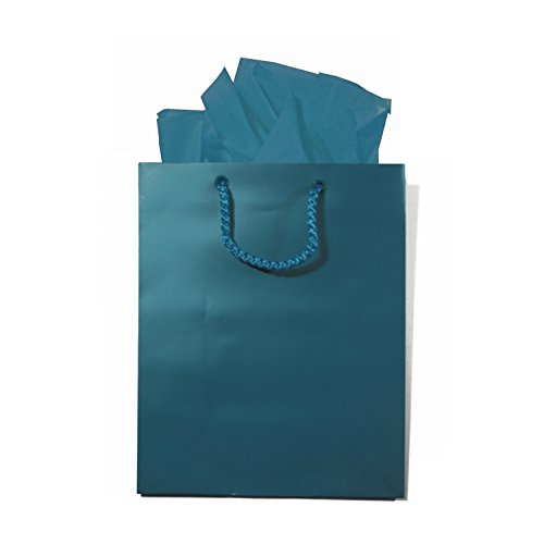Bright Peacock Blue Gift Bags With Handles, Tissue Paper And Tags, Set Of 6, 8 X 10 Inches, Small/Medium front-244662