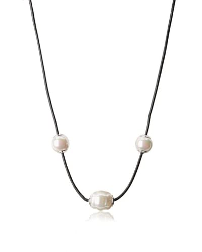 Majorica White Round Pearl Leather Necklace